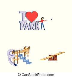 Vector illustration of landscape and park sign. Set of landscape and nature stock symbol for web.