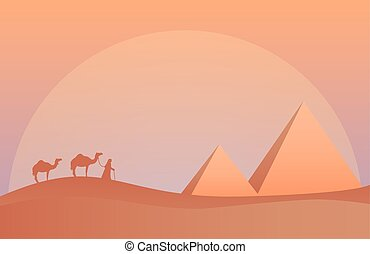 Vector illustration of landscape in savanna, Camel caravan at pyramids