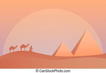 Vector illustration of landscape in savanna, Camel caravan at pyramids