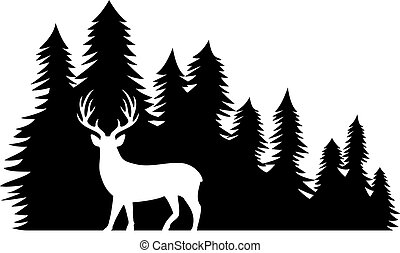 Vector illustration of landscape with forest and deer