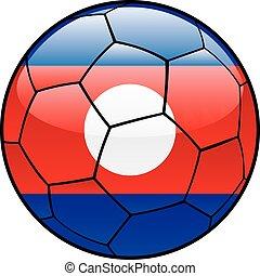 Laos flag on soccer ball