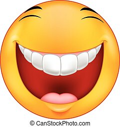 Vector illustration of Laughing smiley cartoon