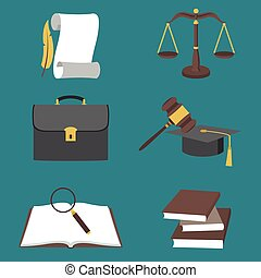 Vector illustration of law icons colorful set in flat style