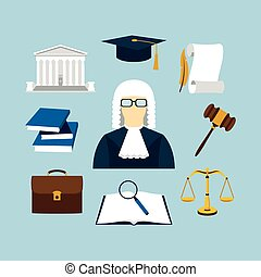 Vector illustration of law icons set in flat style