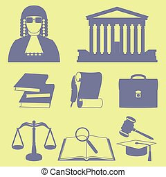 Vector illustration of law icons set in line style