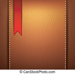 Leather background with a red sticker