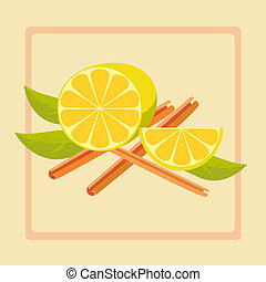 Vector illustration of lemon and cinnamon