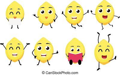 Lemon fruits cartoon character