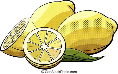 Vector illustration of lemons on white.