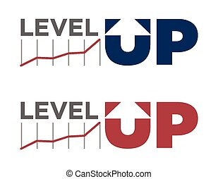 Vector illustration of level up text in different colors