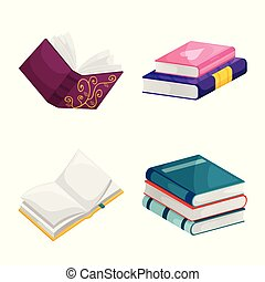 Vector illustration of library and bookstore logo. Collection of library and literature stock symbol for web.