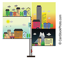 illustration of life in the city
