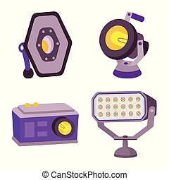 Vector illustration of light and theater icon. Set of light and studio stock symbol for web.