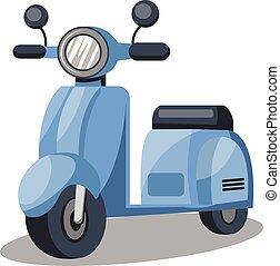 Vector illustration of light blue scooter on white background.