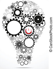 Vector Illustration Of Light bulb gears inside with power button