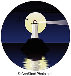 vector illustration of lighthouse on the sea. lighthouse at night. lighthouse on the background of the moon and birds.