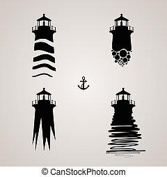 vector illustration of lighthouse set. lighthouse set