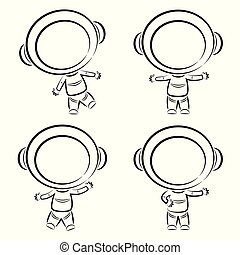 Line art astronauts collection - Vector illustration of Line...