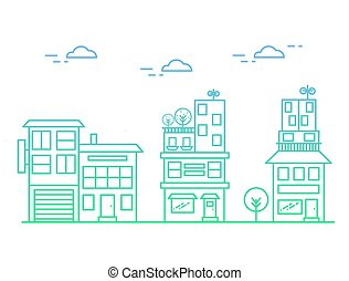 Vector illustration of linear houses