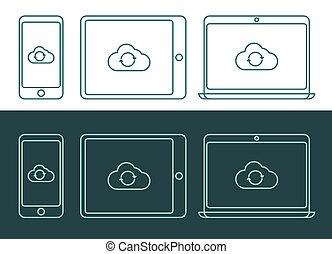 Vector illustration of linear style cloud computing icons