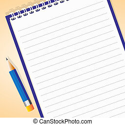notepad - Vector illustration of lined notepad with pencil