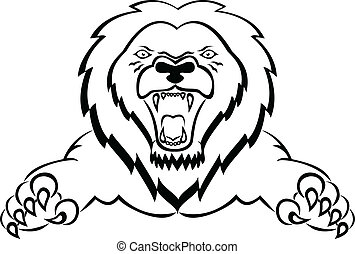 Lion Attacking - Vector Illustration Of Lion Attacking