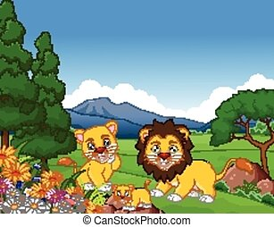 lion cartoon family