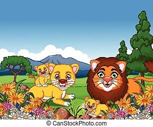 lion cartoon family