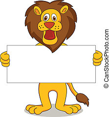 vector illustration of lion cartoon holding white banner