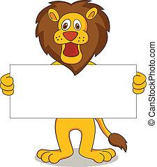 vector illustration of lion cartoon holding white banner