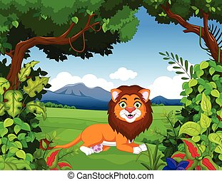 lion cartoon with forest backgrond