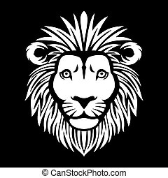 Lion head logo in black and white