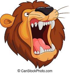 Lion head mascot cartoon