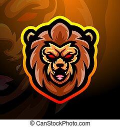 Lion head mascot esport logo design