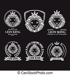 Lion head mascot set collection on black background
