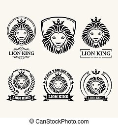 Lion head mascot set collection on white background