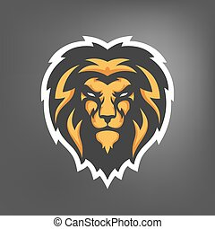 Vector illustration of lion head. Sport mascot.