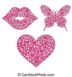 lips, heart, butterfly on white background