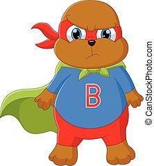 little bear wearing super hero costume