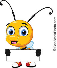 bee cartoon holding blank board - vector illustration of...