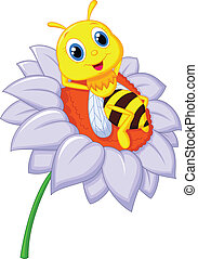 Vector illustration of Little bee cartoon resting on the big flower