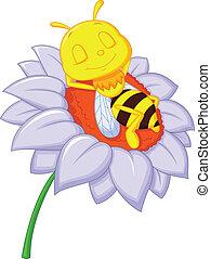 Little bee cartoon sleeping on the
