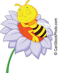 Little bee cartoon sleeping on the - Vector illustration of...