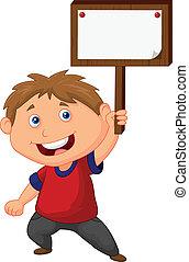 Little boy cartoon  holding blank s