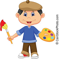 Little boy cartoon is painting with - Vector illustration of...