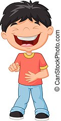 Little boy cartoon laughing and poi