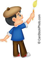 Little boy cartoon painting - Vector illustration of Little ...