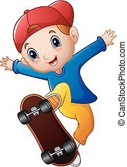 Little boy cartoon playing skateboard