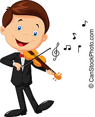 Little boy cartoon playing violin - Vector illustration of...