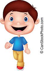 Little boy cartoon walking - vector illustration of Little ...